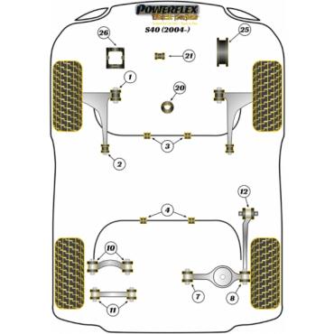 VOLVO V50 04 PFF19-1222BLK POWERFLEX BLACK SERIES LOWER ENGINE MOUNT INSERT