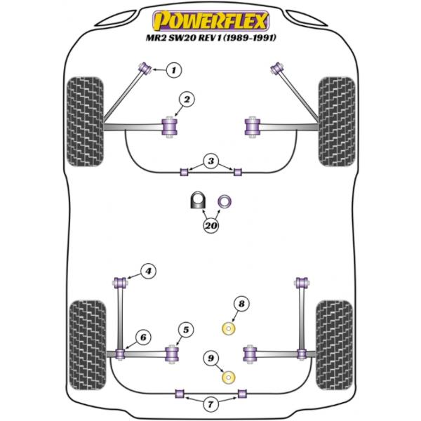 Powerflex Road für Toyota MR2  Stabi hinten 20mm
